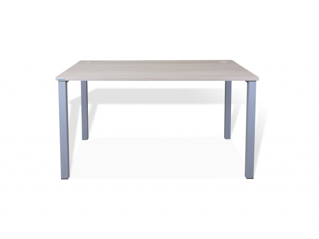 Stůl kancelářský Hobis, 140x80, běl. dub/šedá