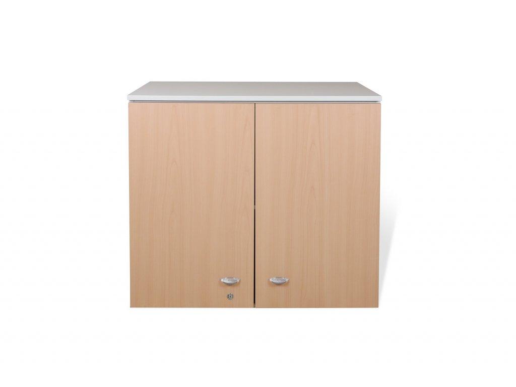 Skříň nástavba, Las, 80x90x46, krémová/hruška, 1xpolice,dveře, 2OH