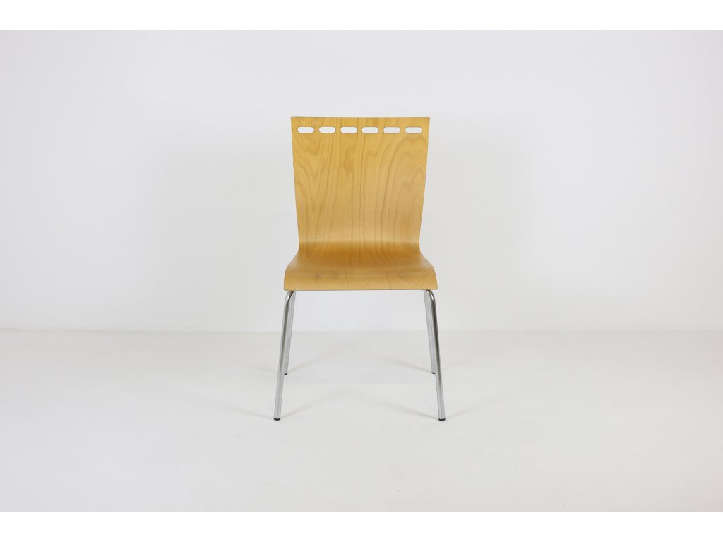 Židle jídelní, překližka, ořech/chrom