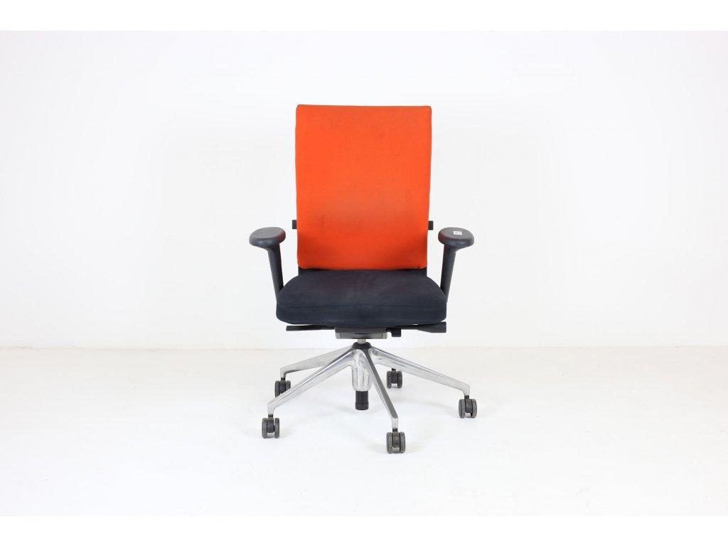 Židle kancelářská, Vitra, Axess, oranžová/černý sedák, područky