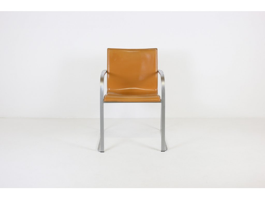 Židle konferenční kožená, Lapalma, opotřebované, Tmavě hnědá, Nerezové nohy + područky