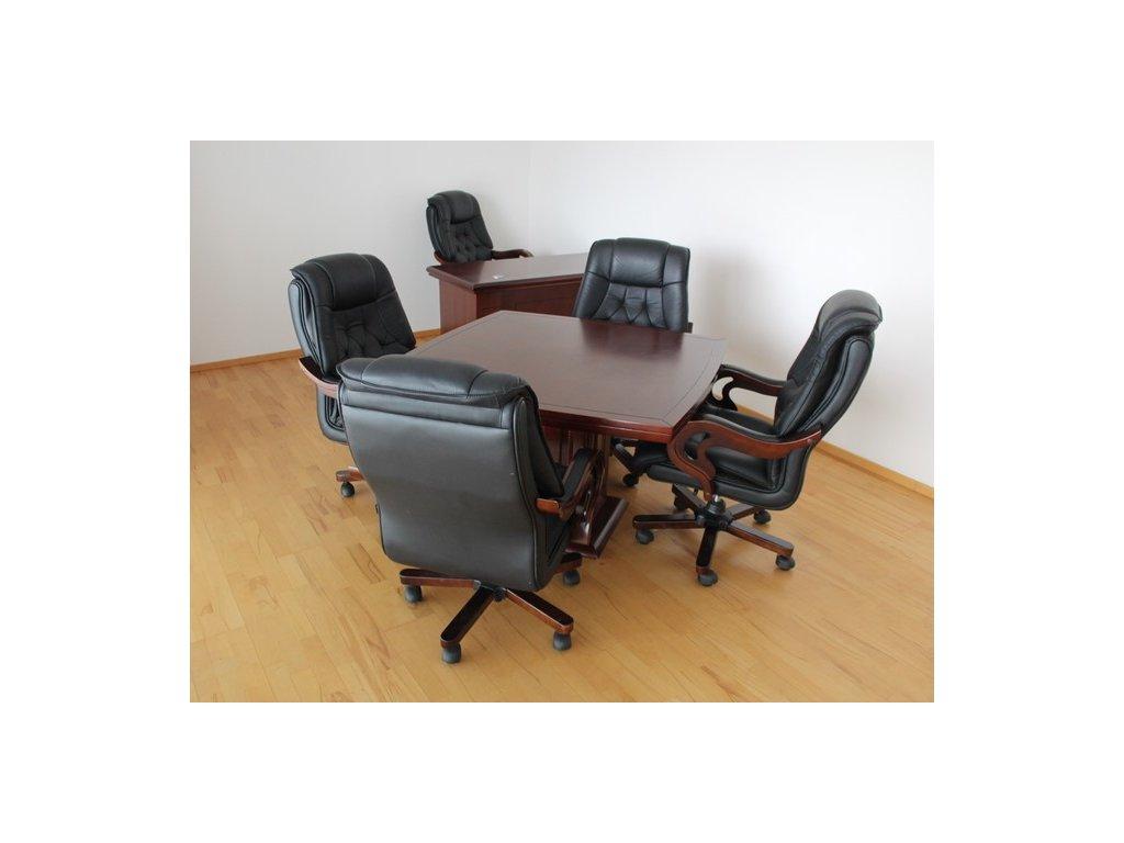 Stůl, 120x120, masiv, tmavý ořech, zaoblený, noha