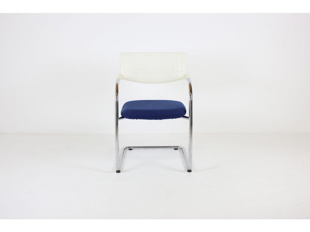 Židle konferenční, Visavis, chrom/modrá/bílá. Přečalouněná