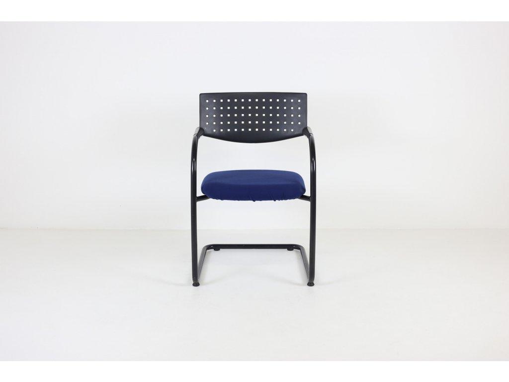 Židle konferenční, Visavis, modrá/černá, přečalouněná