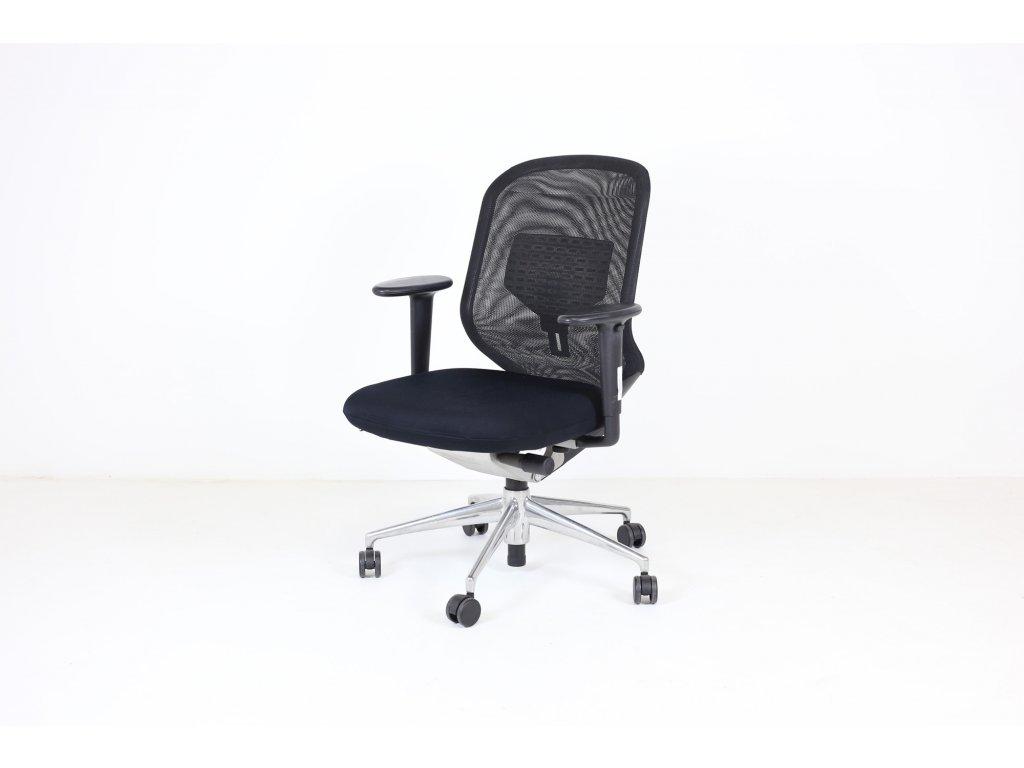 Židle kancelářská, Vitra, černá, Taskchair, synchro, záda síť, alu kříž