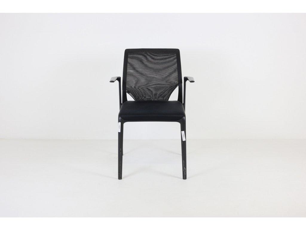 Židle konferenční, Vitra, černá, Meda-Slim, siť záda, područky