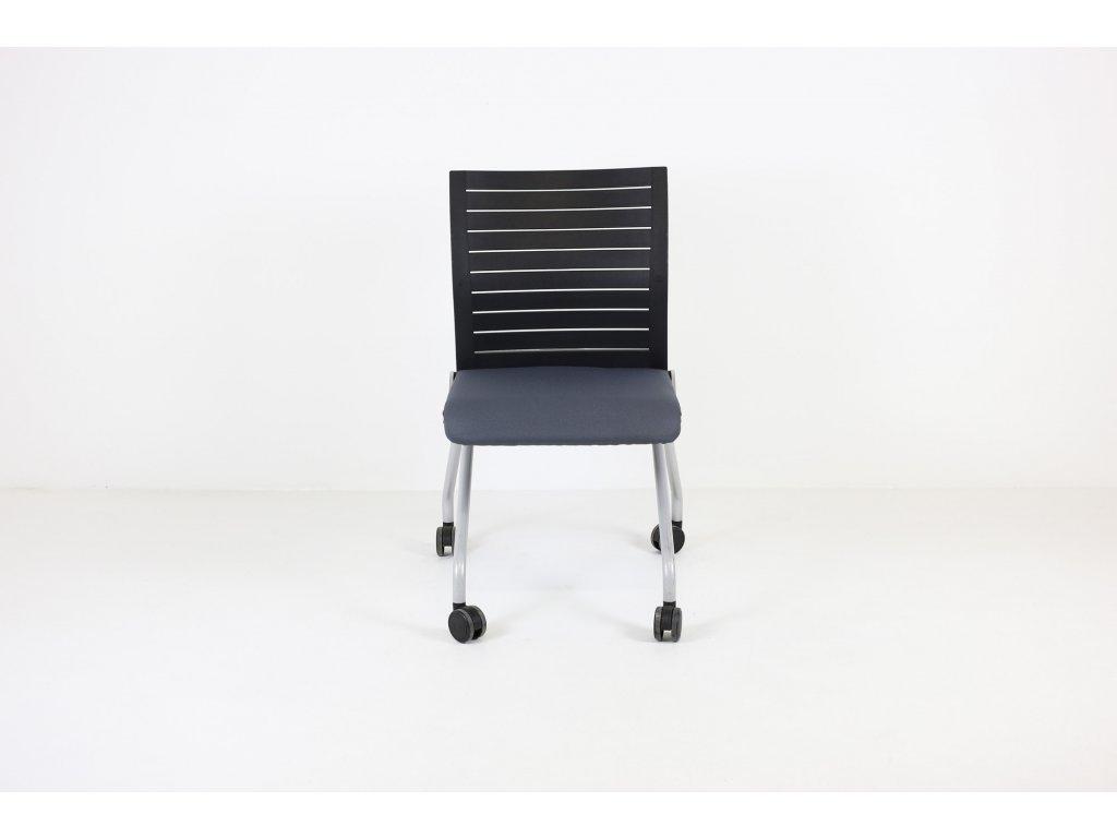 Židle konferenční, Steelcase, sklápěcí, kolečka, šedá/černá