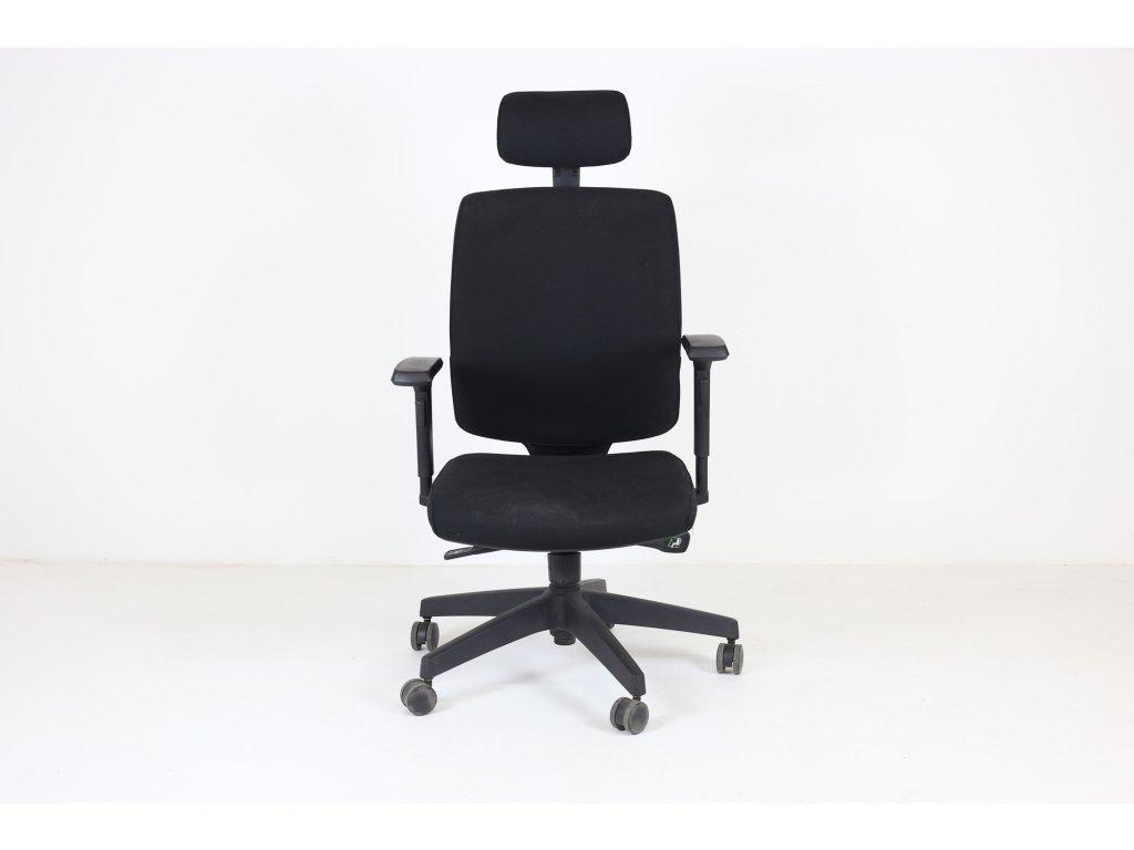 Židle kancelářská, Antares, černá, područky, podhlavník