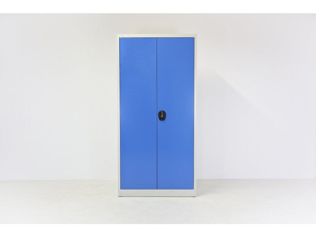 Skříň vysoká, 195x90x40, modrá/šedá, kovová, policová, zámek