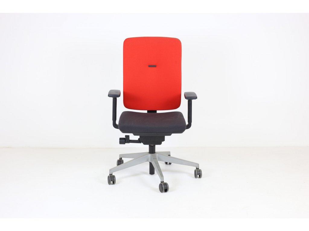 Židle kancelářská, Steelcase, červená/šedá, šedý kříž, područky