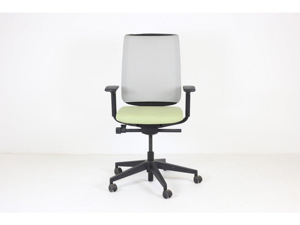 Židle kancelářská, Steelcase, zelená/šedá, šíťovanná, područky