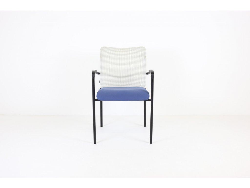 Židle konferenční , LDseating , modrá/bílá ,  sítovná záda , područky