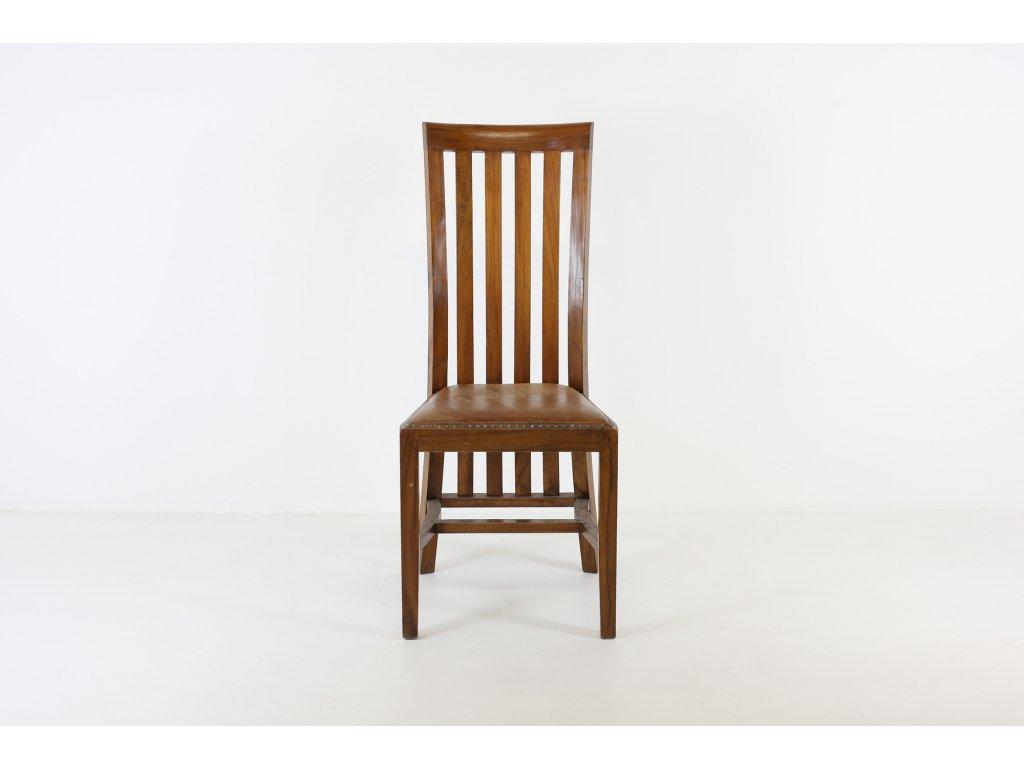 Židle jídelní, masiv, ořech, sedák kůže - opotřebovaná
