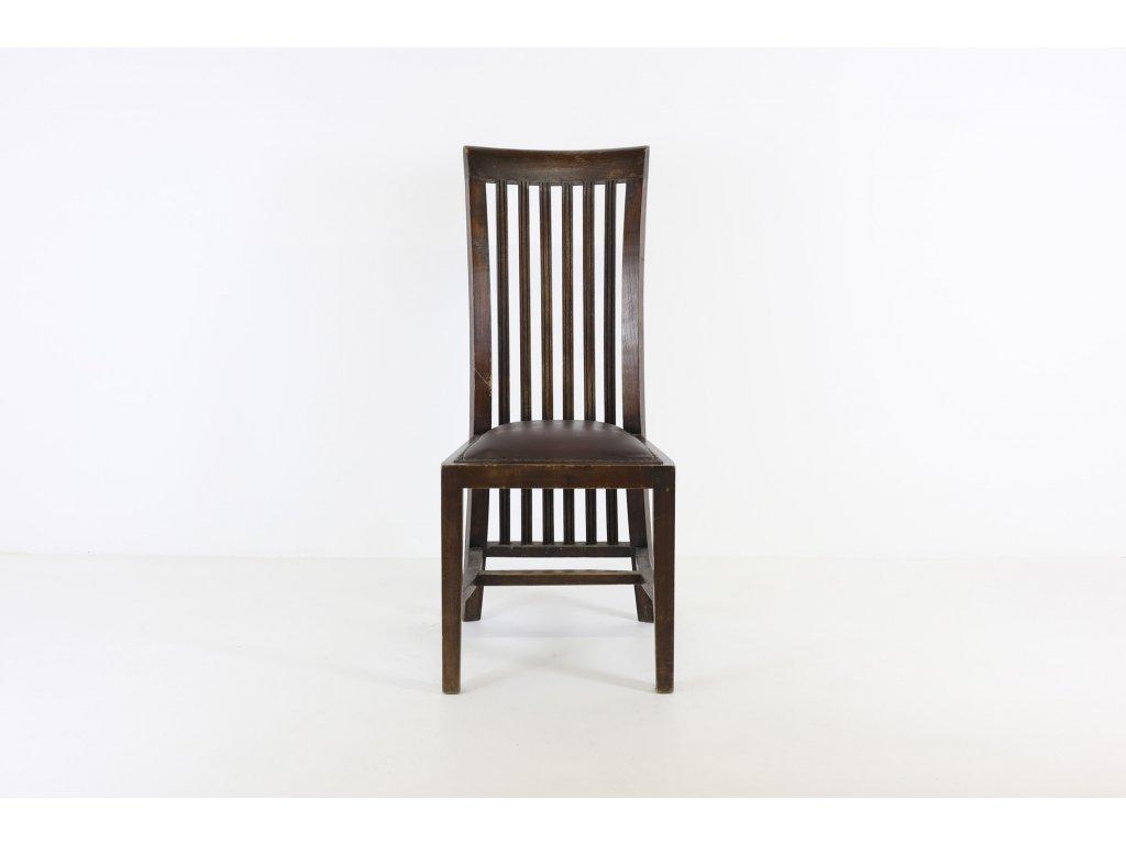 Židle jídelní, masiv, tm. ořech, sedák kůže - opotřebovaná