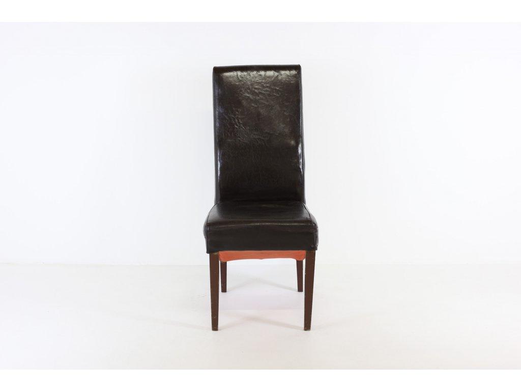 Židle jídelní, masiv, tm. ořech, celokožená - opotřebovaná