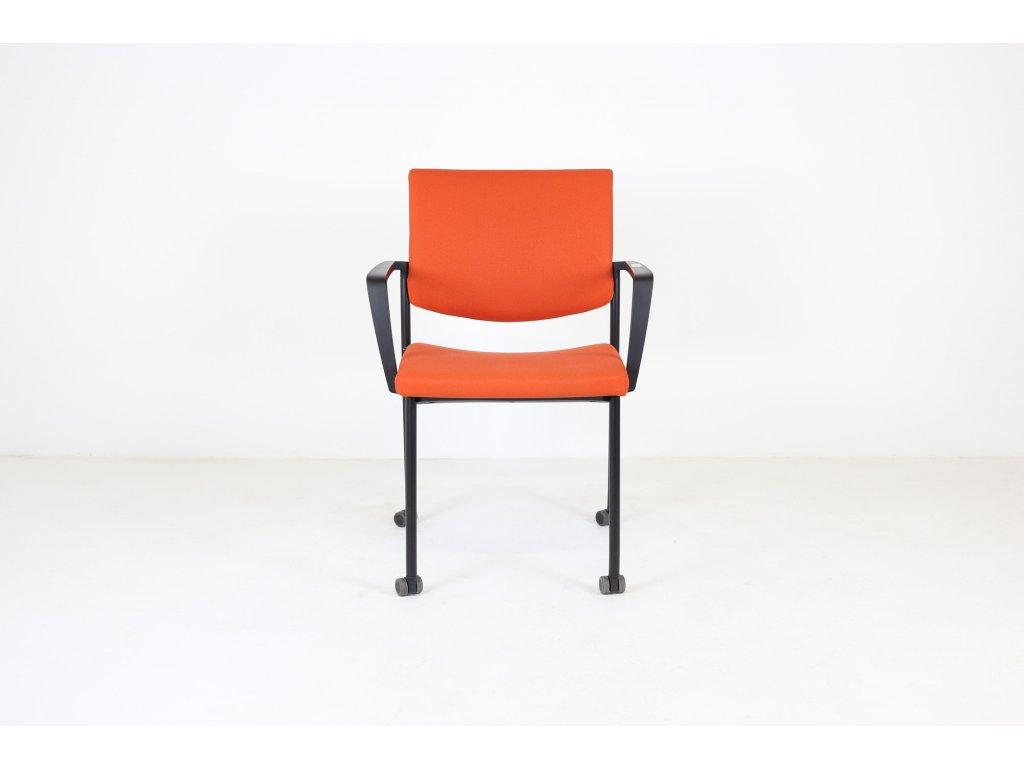 Židle konfr. oranžová, LD seating, Seance, područky /možnost kolečka v ceně/