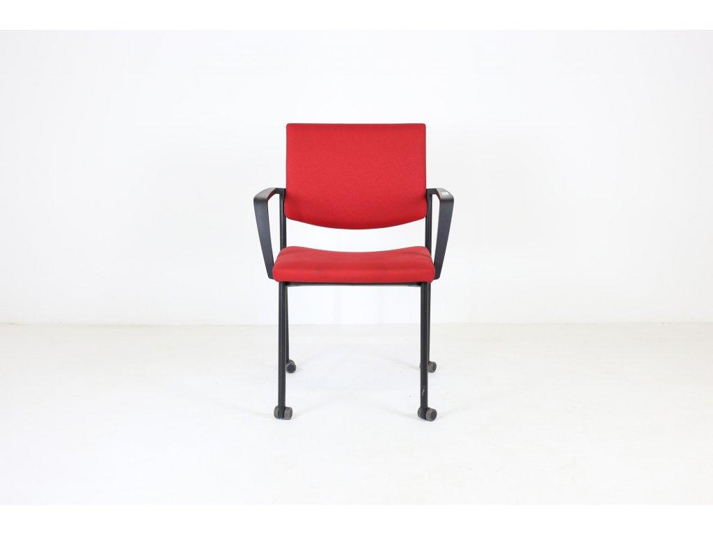 Židle konfr. červená, LD seating, Seance, područky /možnost kolečka v ceně/