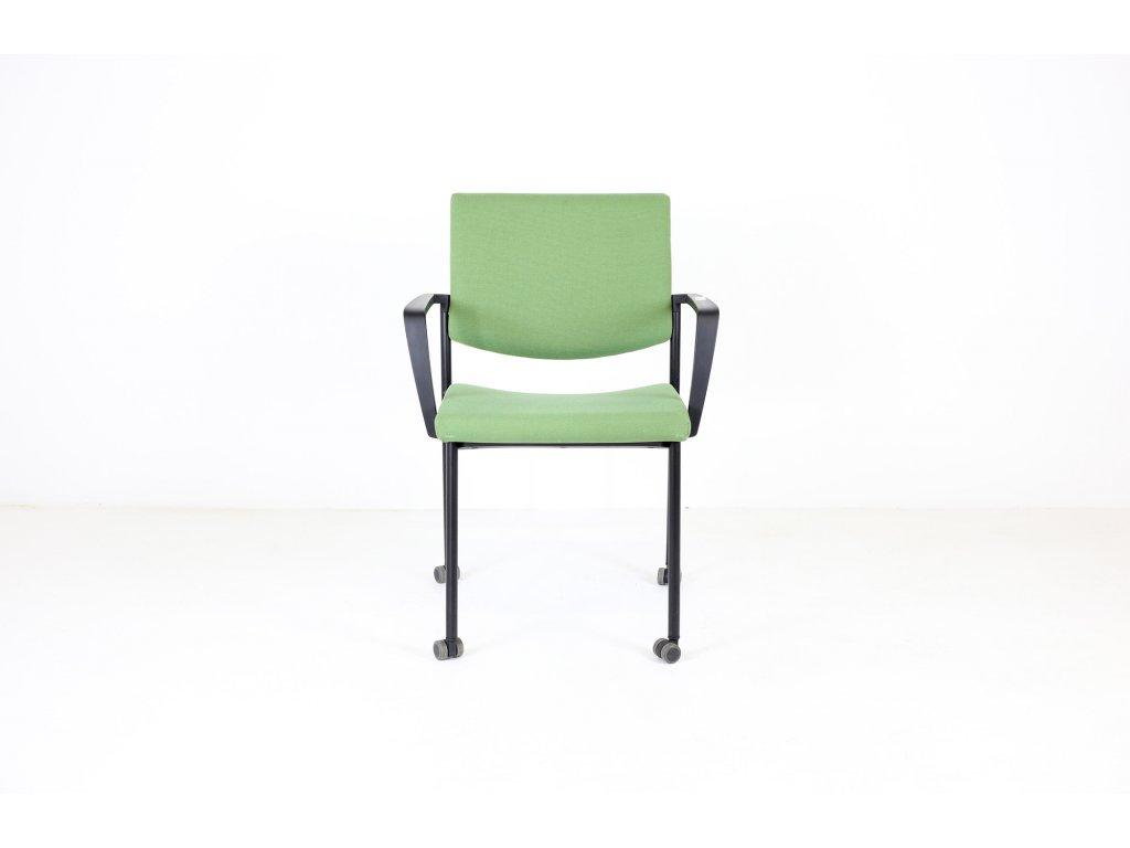 Židle konfr. zelená, LD seating, Seance, područky /možnost kolečka v ceně/