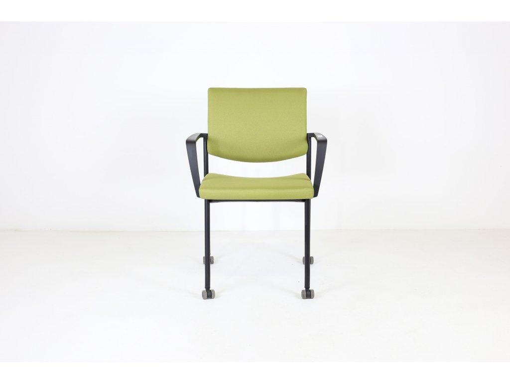 Židle konfr. žluto-zelená, LD seating, Seance, područky /možnost kolečka v ceně/