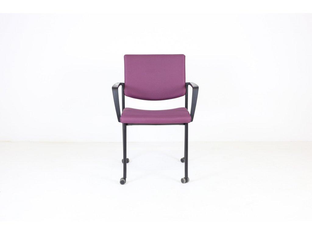Židle konfr. fialová, LD seating, Seance, područky /možnost kolečka v ceně/