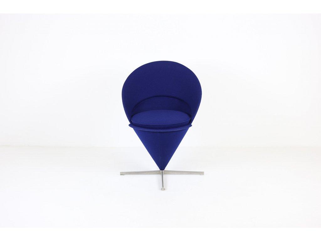 Křeslo Heart Cone chair, small, Vitra, desing by: Panton, modrá/leštěný kříž