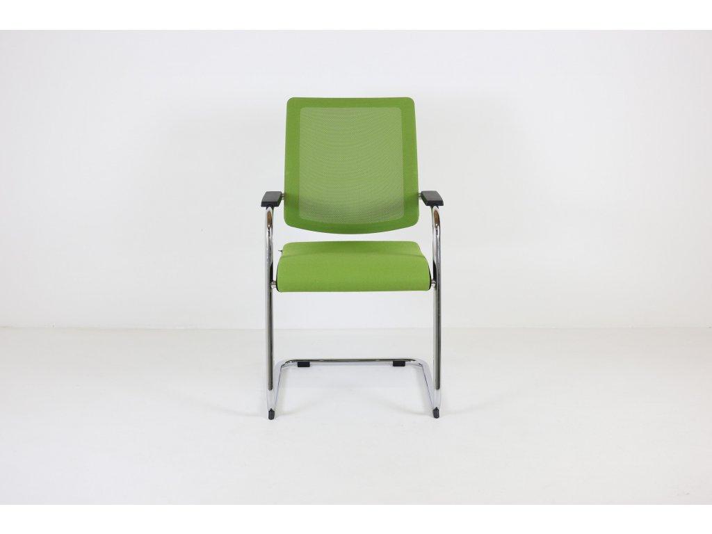 Židle konferenční Sedus, zelená/chrom lyžiny, područky