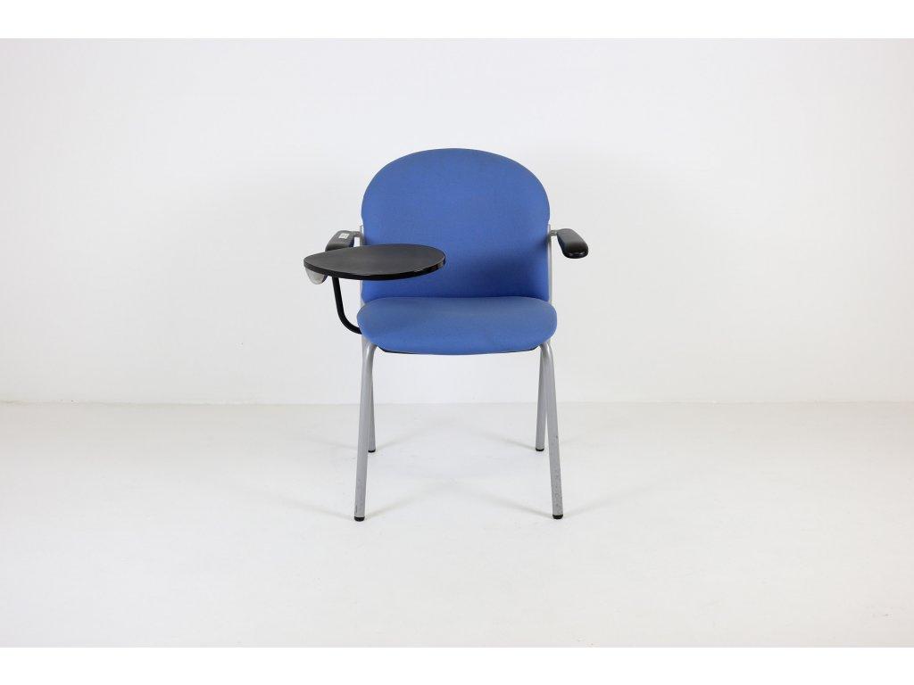 Židle konferenční, sv. modrá/černá, područky