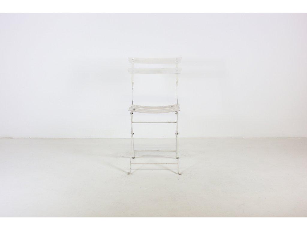 Židle jídelní, kov, bílá, skládací