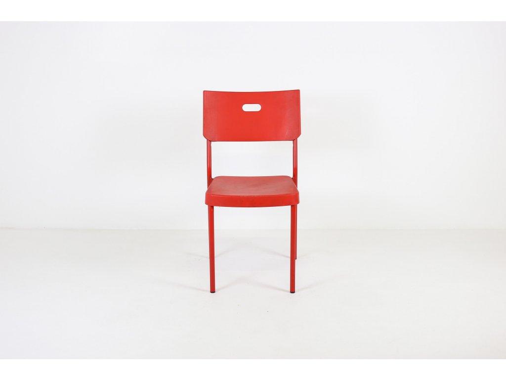 Židle jídelní, plast, červená