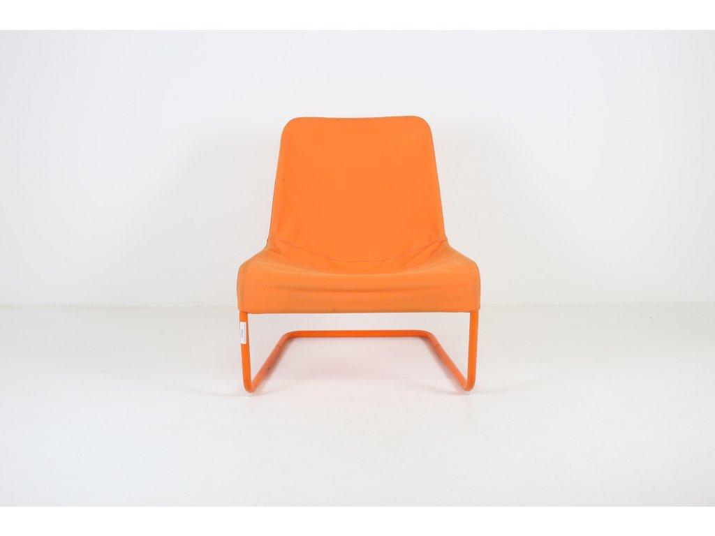 Křeslo Freestyle, kov rám, látka, oranžová