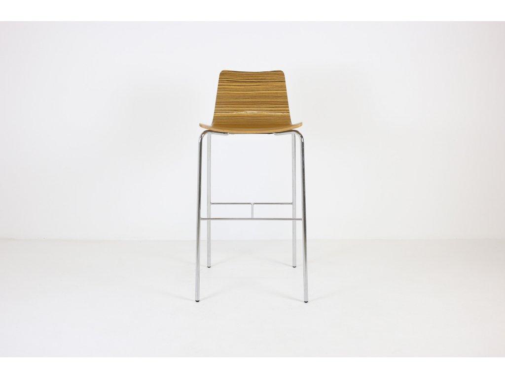 Židle barová, desing, zebrano/chrom