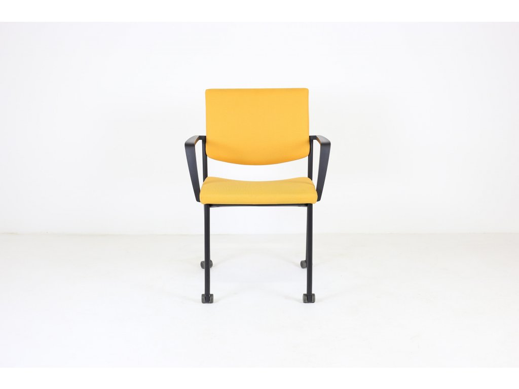 Židle konfr. žlutá, LD seating, Seance, područky /možnost kolečka v ceně/