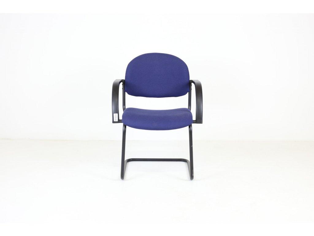 Židle konferenční, tm. modrá/černá, područky, lyžiny