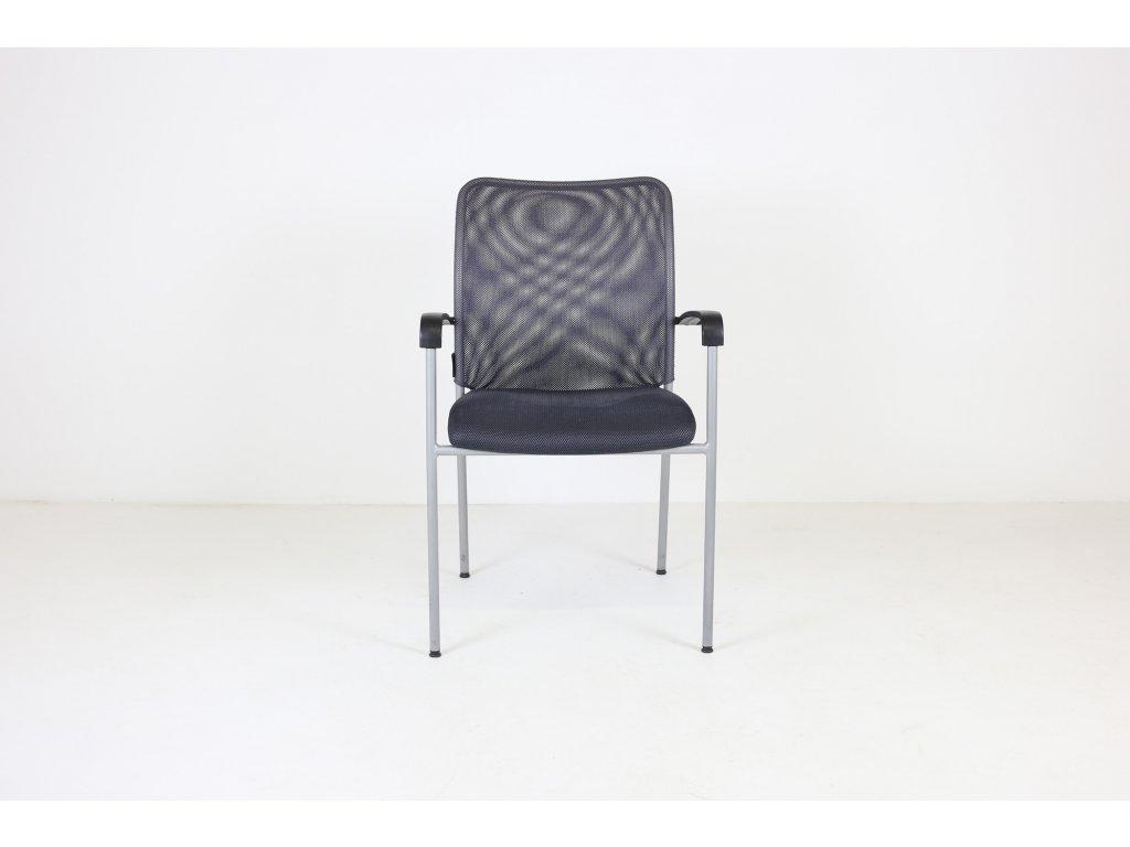Židle konferenční, Triton, šedá, područky, síť záda