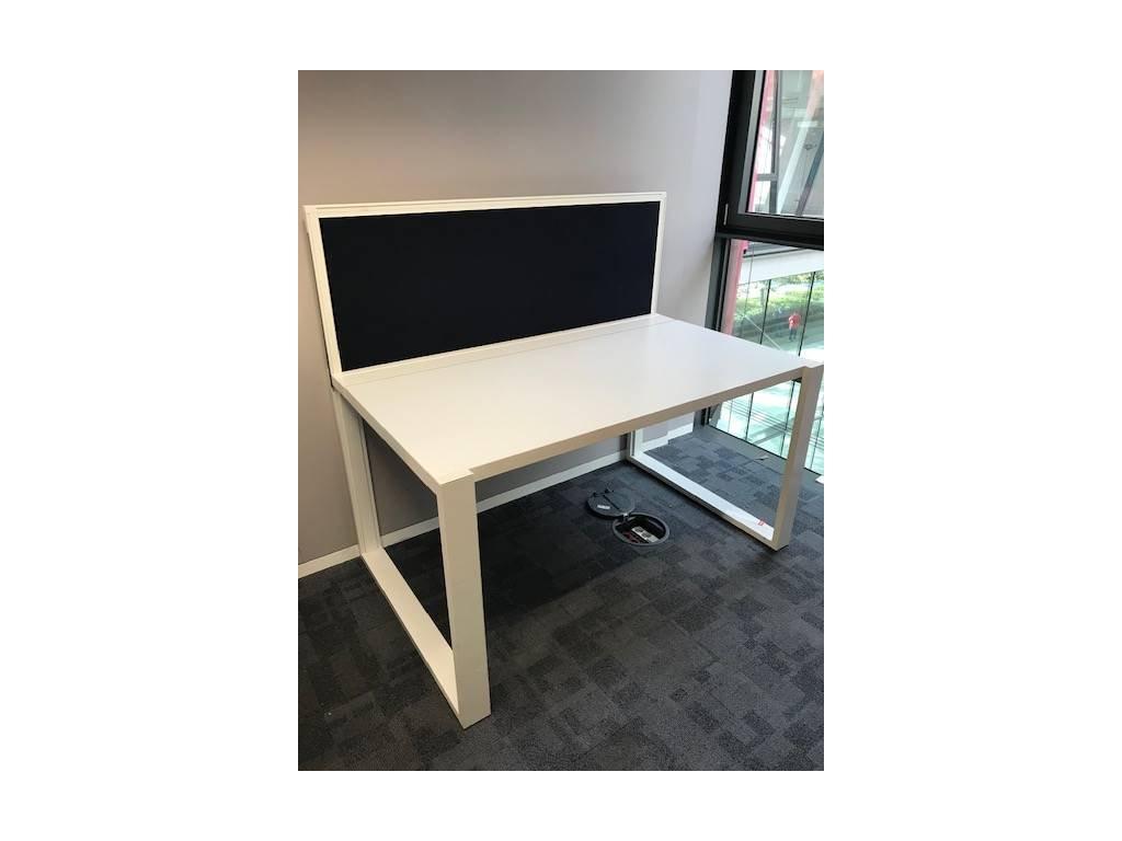 Stůl, Techo,W.O.T., 164x84cm, bílá/bílá, kabelová vana, paraván