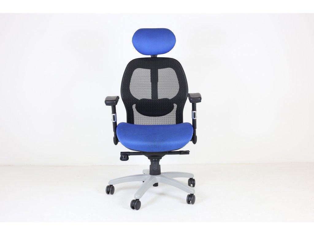 Židle kancelářská Saturn, modrá/černá, podhlavník, síť. záda, ergonomická, područky