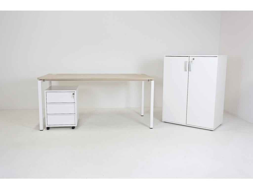 Set: Stůl 160x80 + kontejner + skříň, běl.dub/bílá, Narbutas