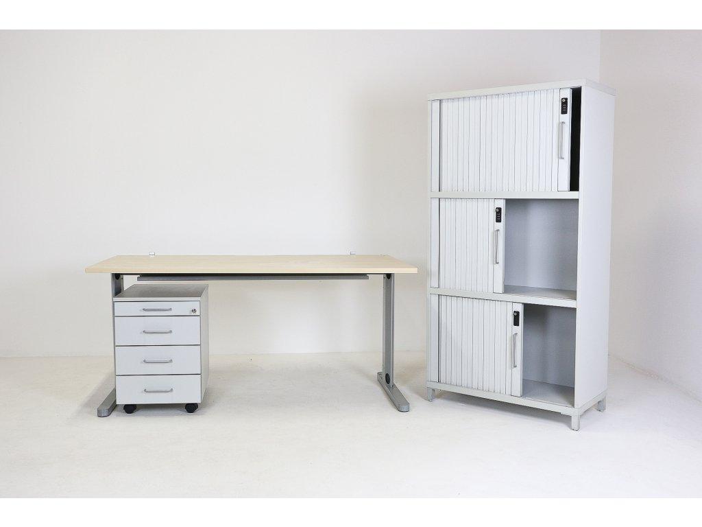 Set: Stůl 160x80 + kontejner + skříň, javor/šedá, DVD