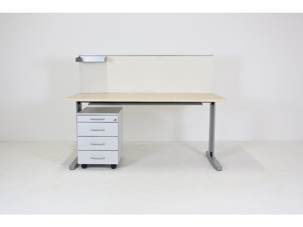Set: Stůl 160x80 + kontejner + paraván s poličkou, javor/šedá DVD