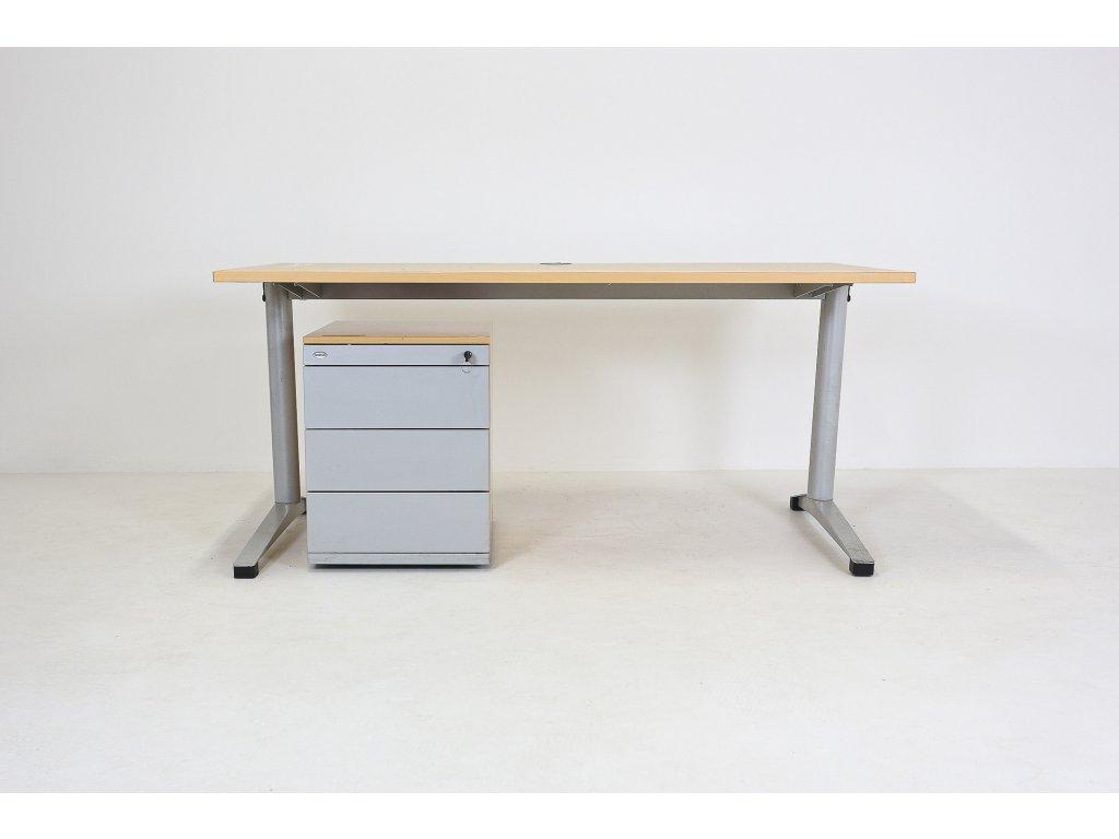 Set: Stůl 140x80 + kontejner, apple/šedá, Steelcase