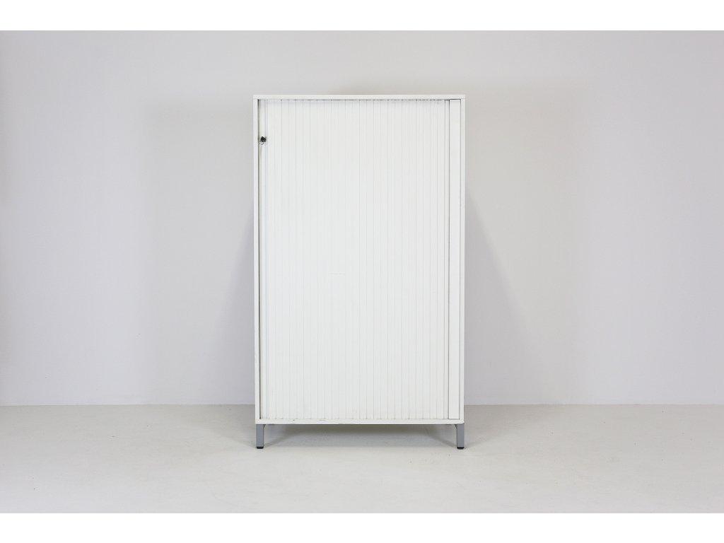 Žluté hrany-SLEVA-Skříň, Techo, 151x90x43, bílá, police, žaluzie, kov rám