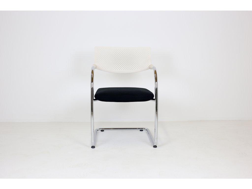Konferenční židle, Vitra Visavis 2, černá/bílá/chrom, Antonio Citterio