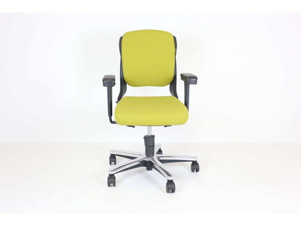Židle kancelářská, Ahrend, hořčicová, polstrovaná, černé područky, kolečková