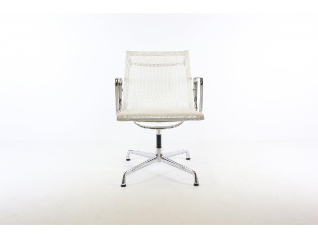 Židle konferenční, Vitra Aluminium Group EA108, nízká záda, síťovaná bílá