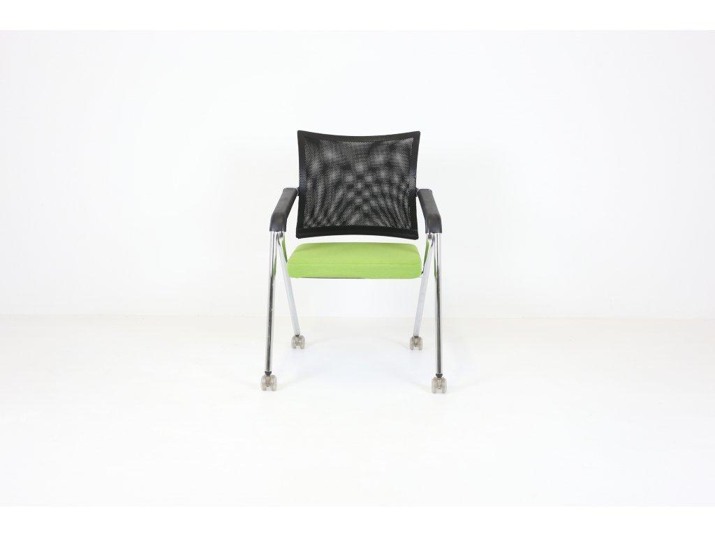 Židle konferenční, Steelcase zelená/ černá/chrom, síť. záda, kolečka
