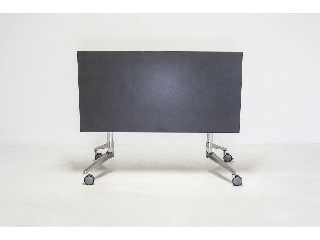 Stůl, Steelcase, 140x70, šedá/chrom, kolečka, skládací