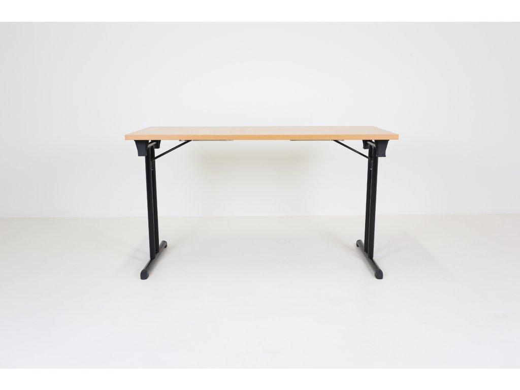 Stůl 130x60, skládací, pro konference, buk/černá