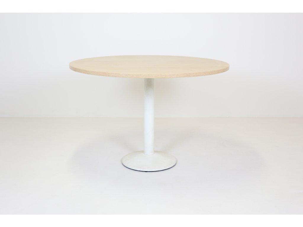 Stůl konferenční, Narbutas, o 110 cm, běl.dub/bílá, kruh, kříž