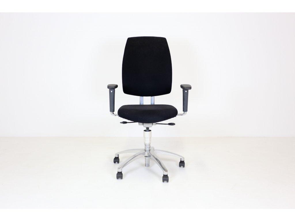 Židle kancelářská, Drabert, Entrada, černá, područky, vysoký opěrák, leštěný ALU