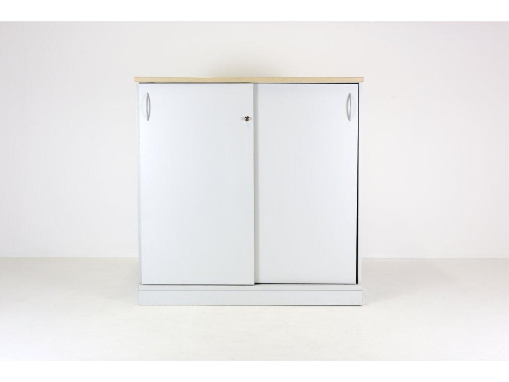 Skříň, Narbutas, 120x120x,42 šedá/dub, policová, dveře posuv